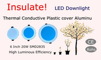 Isolare!!! Alta efficienza termica da 6 pollici plastica conduttiva LED Downlight SMD2835 220V 20W