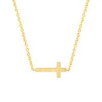 collar de cadena de oro para los niños al por mayor-Crucifijo Jesús Christian Jewelry Color dorado Cruz Colgante Collar Oración Cristo Hombres Mujeres Chica Niños Cadena de acero inoxidable Regalo de Navidad