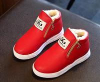 invierno botas de piel niños al por mayor-Las niñas davidyue botas de moda caliente Martin zapatos de las niñas zapatillas de invierno para los niños de piel en el interior de las botas de invierno envío gratis