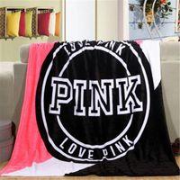 Wholesale Twin Size Pink Blanket - lOVE PINK VS Blanket Soft Blankets Manta Size 130cm*150cm Carpet Towel Sofa Sleep Nap Plane Beach Air Travel Sitting Room for Spring Autumn