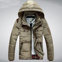 Wholesale Short Down Jacket Hood - Fall-Men's Winter Jacket White Duck Down Men Coat Hood Thick Short Casual Parkas Outwear Windproof Coats Plus Size M-3XL HJ401