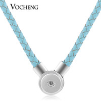 Wholesale Silver Pendant Genuine - VOCHENG NOOSA Ginger Snap Necklace 8 Colors Genuine Leather 18mm Magnet Clasp Pendant NN-394