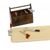 Wholesale Miniature Dollhouse Tools - Wholesale- MACH 1 12 Dollhouse Miniature Wooden Box with Metal Tool Set