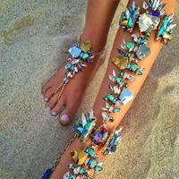 ingrosso cavigliere di porcellana-New Diamond calzini della lega per i gioielli braccialetto di caviglia donne sulla gamba sandali a piedi nudi del piede del calzino gamba Bracciale cavigliere