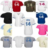 Wholesale mens canada - 2017 All Star Mens Womens Kids Toronto 14 Justin Smoak Father Fashion Canada Mother USMC Blue Grey Cream White Cool Flex Baseball Jerseys