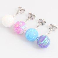 Wholesale Earring Post Nickel Free - 925 sterling-silver-jewelry Stud earring opal ball women earrings shining artificial stone post nickel-free fashion jewelry