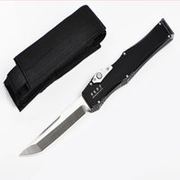Wholesale Manufacturing Nylon - Promotion ANDY Manufacture AUTO Tactical Knife D2 Tanto Satin Blade T6061 Aluminum Handle EDC Pocket Knife Gift Knives With Nylon Bag