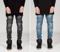 Wholesale Slimming Bomb - 2016 New men's BIKER JEANS male personality folds Slim pants feet jeans micro-bomb