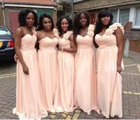şifon çiçek uzun elbise nedime toptan satış-Uzun Gelinlik Modelleri 2016 Basit Bebek Pembe Ucuz Şifon Düğün Törenlerinde Ile Bir Omuz Kat Uzunluk Çiçek Hizmetçi Onur Elbise
