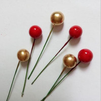 Wholesale Wholesale Mini Artificial Cherries - 100 pcs pack Mini Fake Fruit Small Berries Artificial Flower red gold silver cherry Stamen Pearlized Wedding Christmas Decorative