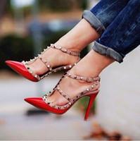 knöchel hoch kleid schuhe großhandel-Lackleder Frauen Stud Sandalen Point Toe Zwei Knöchel Schnallen Damen Sexy High Heels Neon Farbe Kleid Schuhe
