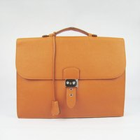 Wholesale Briefcases Lock - Real Leather Men Business Bag Briefcase Bag Key&Lock 2Colors Fashion Brand Bag 5A Grade Gift Package(Card,Dust Bag)#2813