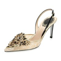 Wholesale Ballet Shoes Size 11 - Sexy Mature Lace Wedding Shoes Pointed Toe Ankle Strap Open Heel Black Rhinestones Summer Style Ladies Pumps Custom Size 2016 New Arrival