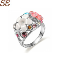 Wholesale imitation platinum silver wedding rings - Platinum & Gold Morning Glory Ring Gold Men's Ring 925 Sterling Silver For Women Jewelry Bijoux bague Ring Female Wedding Rings