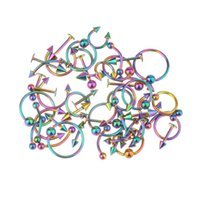 Wholesale Tongue Ring Studs - Wholesale 45pc Body Jewelry Tongue Belly Lip Eyebrow Barbell Rings Stud Piercing