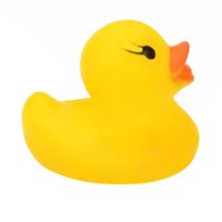 Wholesale Yellow Baby Children Bath Toys Cute Rubber Squeaky Duck Ducky L00028 CAD