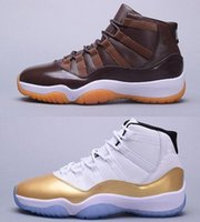 Wholesale Great Leather - Air Retro 11 RETRO 11s High CLOSING CEREMONY Gold white great Lord of chocolate Basketball Shoes sport shoes size eur 41-47 free shipping