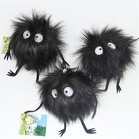 "Wholesale Totoro Black Soft Toy - Top New 3"" 7.5CM Black Dust Plush Doll My Neighbor Totoro Fairydust Dustbunny Anime Stuffed Dolls Keychains Pendants Soft Party Gifts Toys"