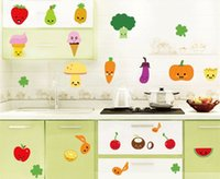 Wholesale Transparent Kitchen Sticker - cartoon fruits vegetables kitchen refrigerator decorative wall stickers transparent PVC sticker