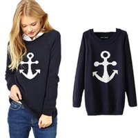 Wholesale Anchor Pullover - Fashion Women's Long Sleeve Knitwear Jumper Pullover Coat Jacket Casual Sweater Anchor
