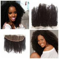 mezcla de cabello tejido al por mayor-El cierre rizado rizado mongol del cordón para mezclar la extensión del pelo humano teje libre / medio / 3 parte rizado cierre superior rizado nudos blanqueados G-EASY