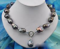 "Wholesale Buy Pendants - Best Buy Pearl Jewelry Rare 18"" 25mm baroque black keshi reborn pearl necklace pendant"