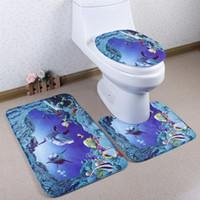 Wholesale Cut Bathroom Carpet - 3pcs set New Cut Ocean Scenic Bathroom Mats Set Absorbent Carpet Non-Slip Foot Pad Pedestal Rug Lid Toilet Cover Bath Mat BS07