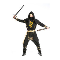 Wholesale Carnival Costumes Retail - 1 PC Retail High Quality Halloween Black Ninja Cosplay Suits Men Carnival Masquerade Samurai Costumes Real