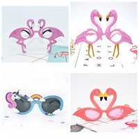 Wholesale Tropical Party Dresses - Flamingo Unicorn Sunglasses Tropical Party Glasses Beach Party Fancy Dress Accessory Hawaiian Funny Glasses Eyewear Event Supplies LJJO3197