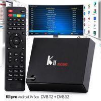 Wholesale Dvb S2 Hd - Slim Android Box KII Pro 2GB 16GB DVB-S2 DVB-T2 Fully Loaded Quad core Bluetooth Full Hd 4K S905 TV Box Media Player