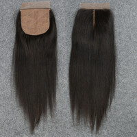 Wholesale Side Part Closures - Slove Silk Base Closure Straight 7A Brazilian 100% Human Hair Free 2 3 Side Part Cheap Silk Top Closures Bleached Knots