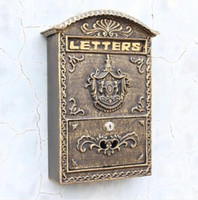 outdoor mail box - Cast Iron Mailbox Postbox Embossed Trim Decor Metal Mail Post Letters Box for Yard Patio Lawn Garden Outdoor Wall