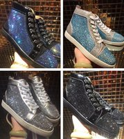 Wholesale Green Crystal Shoes - 2017 New Luxury Brand Red Bottom Sneaker Man Woman Fashion Designer High Quality High Top Crystal Black Gold Blue Party Shoes Size 46