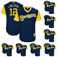 Wholesale I Believe - 2017 Men's Milwaukee Brewers 37 Swarzy 12 I Believe 22 The Count 35 The Raptor 48 Bull 50 Caveman 54 Jus Blaze Players Weekend Jerseys