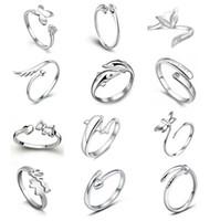 anéis de prata libélulas venda por atacado-Nova 925 Sterling Silver Jewerly Anéis Golfinhos Libélula Asas Do Anjo Amor Raposa Borboleta Abertura Ajustável Anel Para As Mulheres