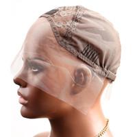 pelucas delanteras de encaje peines al por mayor-Greatremy Tapas de peluca delanteras de encaje profesionales para hacer peluca con correas ajustables y peines Suizo Encaje Marrón Tamaño medio