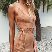 Lace Up Wildleder Spaghetti Strap Kleid Frauen Sommer Deep V Front Cut Out Open Back Strand Boho Hippie Kleid