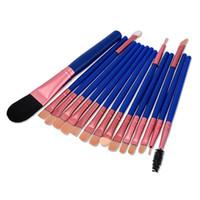 blau bearbeitete make-up pinsel großhandel-Qualitätsbürsten der blaue Griff 15pcs bilden Bürstenmake-upwerkzeuge freies Verschiffen dhgate vip Verkäufer
