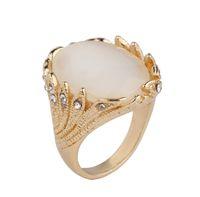 weiße katzen augenschmuck großhandel-Old Silver Vintage Gems Ringe für Paar Hochzeit Schmuck schwarz weiß gelb rot grün erhältlich Big Cat Eye mit Kristall Frauen Opal Ring