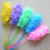 Wholesale luffa shower resale online - Bath Pouf Large Mesh Lace Trim Shower Sponge Exfoliating Cleanse Soothe Skin Loofah Luffa Body puff Mesh Body Scrubber Bath Pouf IC780