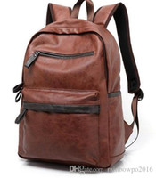 Wholesale Mens Backpack Brown Leather - Factory sales brand new Europe college mens bag style casual brand backpack lightweight comfort student Leather Backpack