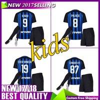 Wholesale Thailand Jersey Milan - Thailand Quality 2017 Inter home kits Soccer jersey CANDREVA ICARDI JOVETIC 2018 Milan full Set Socks 17 18 Maillot de foot football shirts
