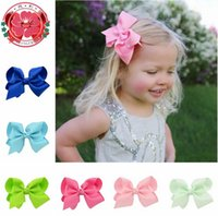 Wholesale Diy Ribbon Bow Hair Clip - 10cm 40pcs 20color Hair Bows Cute Baby Ribbon Bows Boutique Hair Bow with Hair clips Kids DIY Accessories A8916
