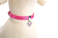 Wholesale Pink Collar For Puppies - Free Shipping! Wholesale Puppy Small Dog Cat Sparkle Leather Collar for Pet Application Products Adjustable Necklace with Heart Pendant