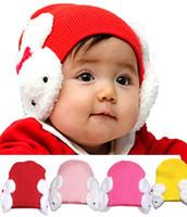 oreilles enfants chapeaux achat en gros de-En gros 10 pcs Unisexe Tricot Bonnets Enfants Mignon Petit Lapin Oreillettes Earflap Chapeaux Enfants Automne Hiver Chaud Oreille Protection Cap MZ0178