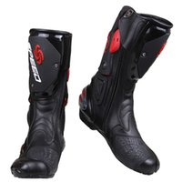 Wholesale Moto Racing Boots - Wholesale PRO-BIKER SPEED BIKERS Motorcycle Boots Moto Racing Motocross Off-Road Motorbike Shoes Black White Red Size 40 41 42 43 44 45