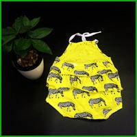 cebra viste niños bebe al por mayor-Niñas bebés mamelucos cebra estampado animal amarillo color sólido niñas vestido en capas mamelucos moda niños encantadores trajes infantiles niño