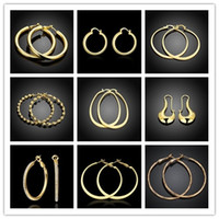 Wholesale Pretty Tops - Mixed style hoop earrings 18K gold plated jewelry pretty cool party style top quality free shipping 9pair   lot
