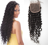Wholesale brazilian curly top closure - Unprocessed human hair lace closure peruvian deep wave deep curly free part top closure 4x4 inch G-EASY