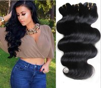 Wholesale Wholesale Malaysia Hair - Human Hair Weave Brazilian Hair Body Wave Hair Weaves Weft Cheap Hair Extensions Malaysia Peruvian Indian Double Weft 50g 6Bundles